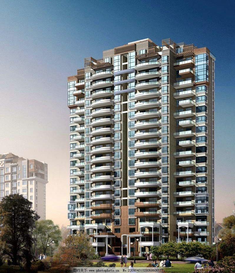 高层住宅建筑设计效果图后期图片