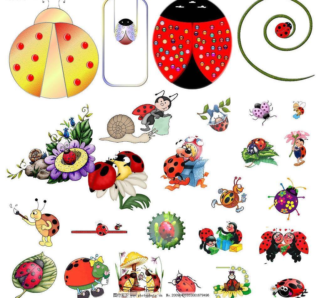 色彩斑斓的小动物们 色彩斑斓 甲壳虫 psd分层素材 源文件库 72dpi