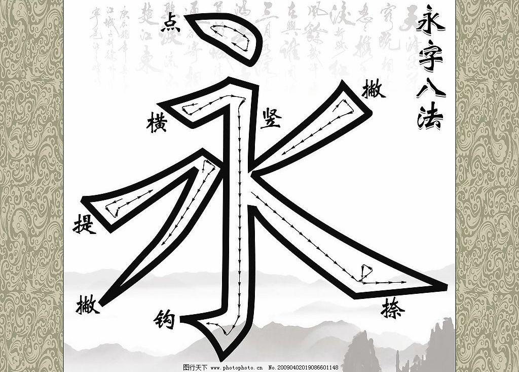 永字八法 文化艺术 绘画书法 设计图库 96dpi jpg