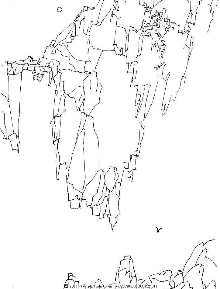 素描山水 山水速写 山水画 白描风景 文化艺术 绘画书法 设计图库 72d