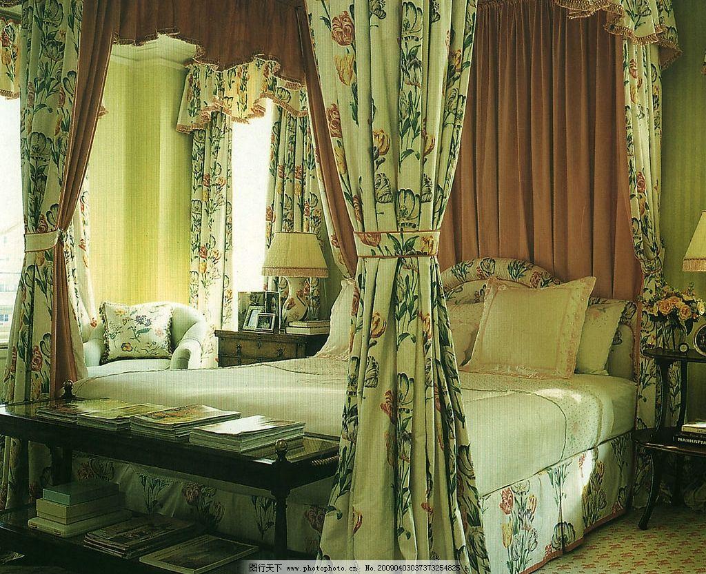 欧式卧室2 欧式风格 床 床头桌 床帘 台灯 书籍 生活百科 家居生活