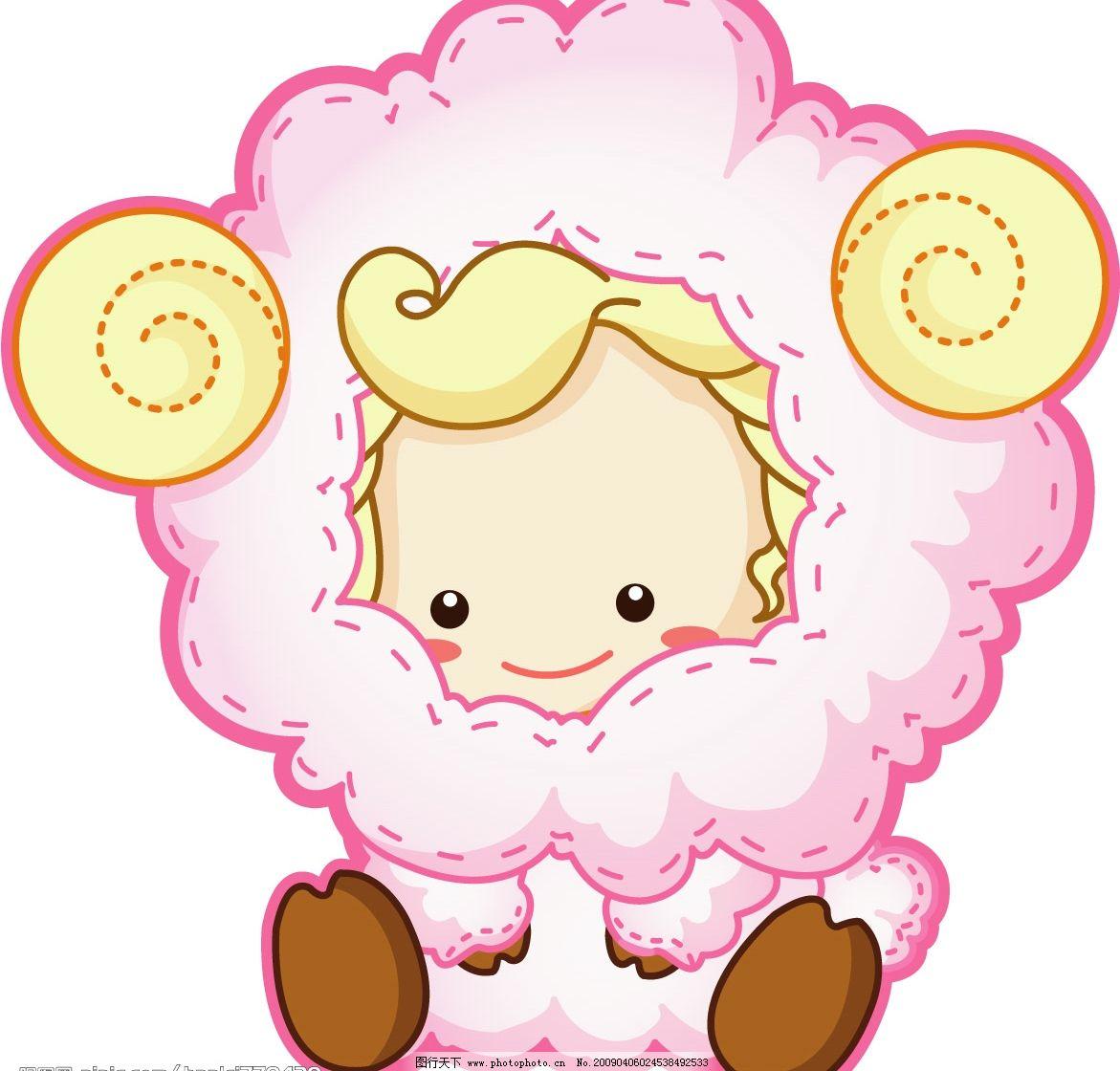 绵羊小孩 宝宝 绵羊 可爱 生物世界 家禽家畜 矢量图库 ai