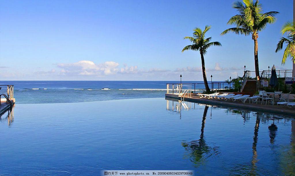 海边风景 大海 椰树 海水 船 旅游摄影 国外旅游 摄影图库 350dpi jpg