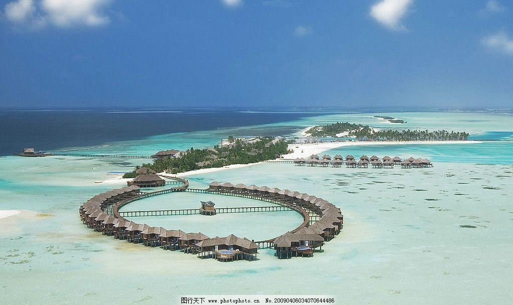 马尔代夫双鱼岛航拍图 马尔代夫 双鱼岛 航拍 大海 水上屋 热带风光