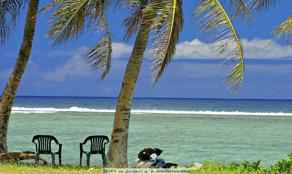 海边的椰树 椰树 海水 海边 椅子 草 旅游摄影 自然风景 摄影图库 350