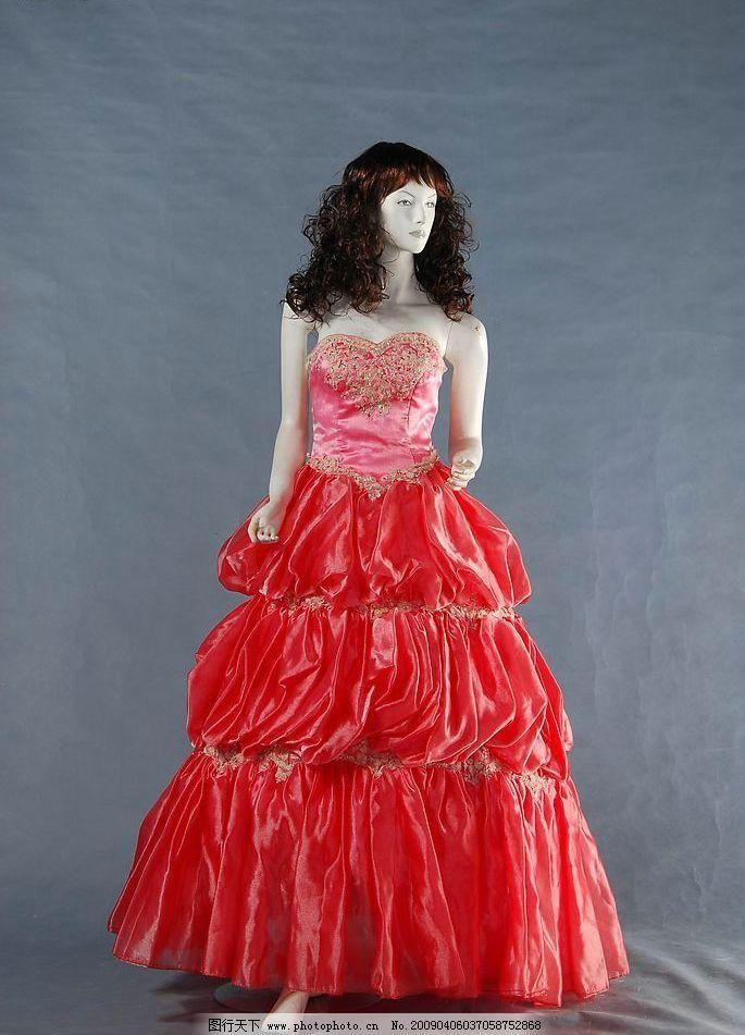 红色婚纱 婚纱 摄影 蕾丝 服装    蓝色 生活百科 生活素材 摄影图库