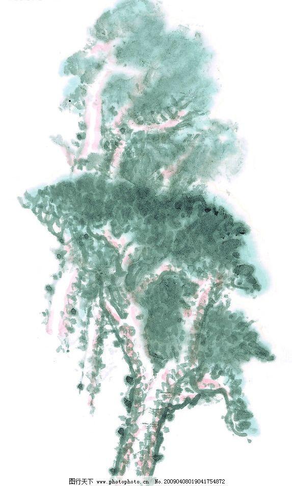 树林 树木 国画 写意 传统艺术 植物 文化艺术 传统文化 设计图库