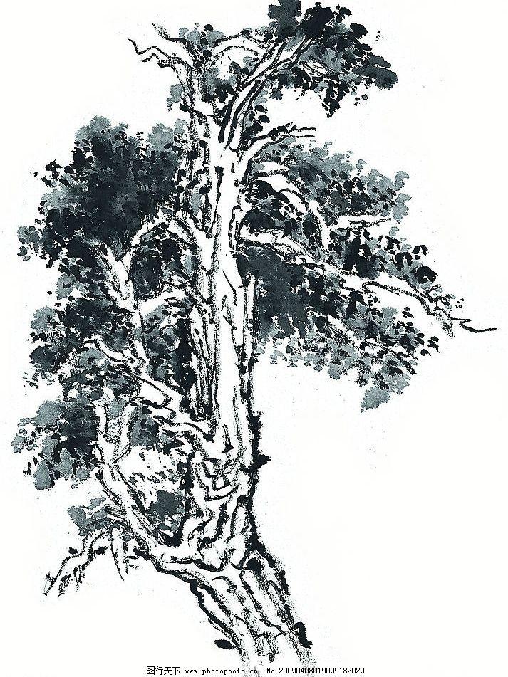 树木 树 国画 写意 传统艺术 植物 文化艺术 传统文化 设计图库 绘画