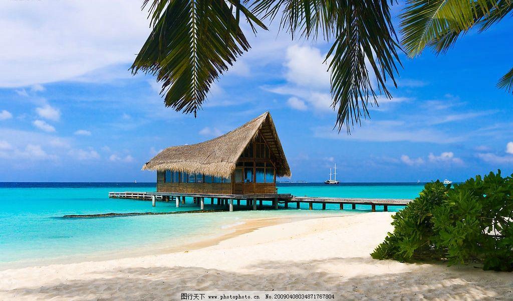 夏日海边沙滩风景 夏日风景 夏天 蓝色大海 草房 码头 椰树 蓝天海洋