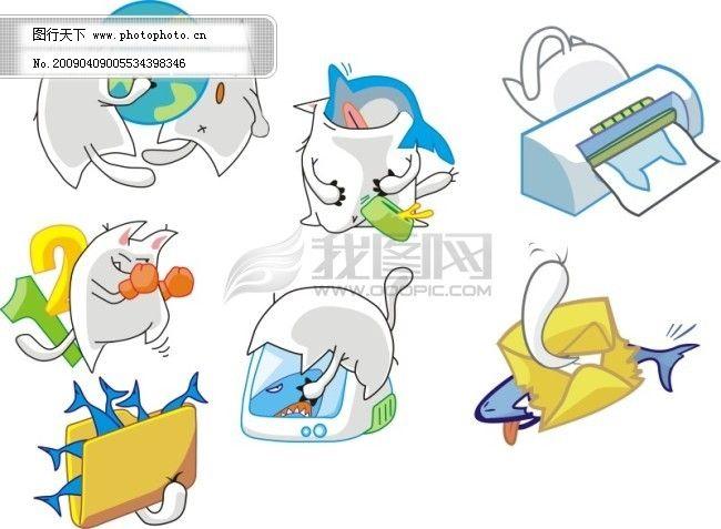 卡通(猫)免费下载 卡通 卡通素材 猫 卡通 猫 无限大矢量图 卡通素材