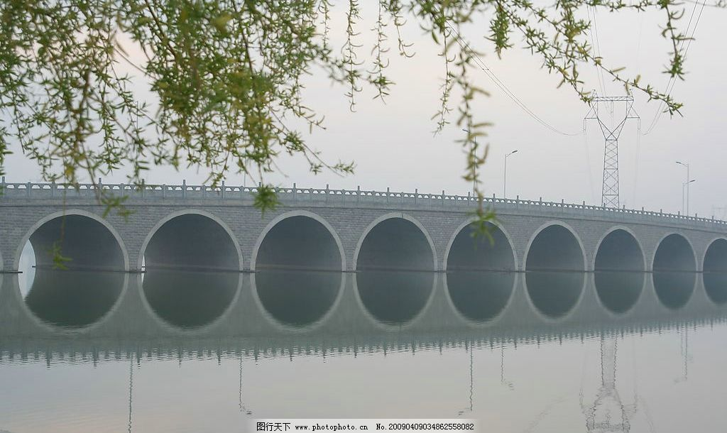 石家庄岔河大桥 大桥 河 春天 自然景观 自然风景 摄影图库 72dpi jpg