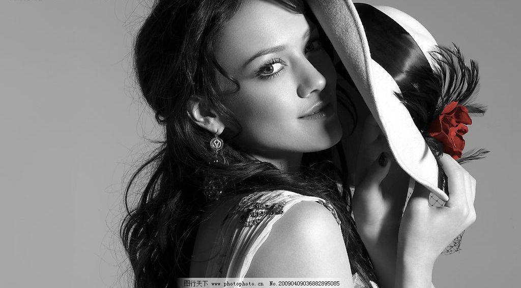 风情美女 帽子 黑白照 侧面 风情 模特 人物图库 女性女人 摄影图库