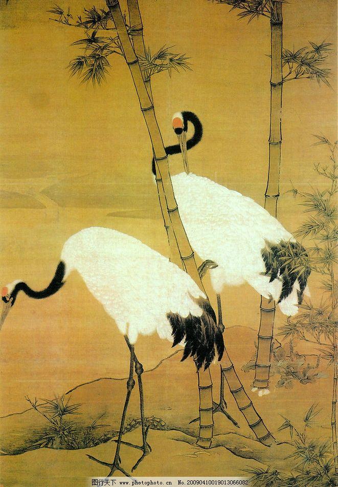 双鹤图 中国工笔画 背景 边景昭 仙鹤 竹林 花鸟画 文化艺术