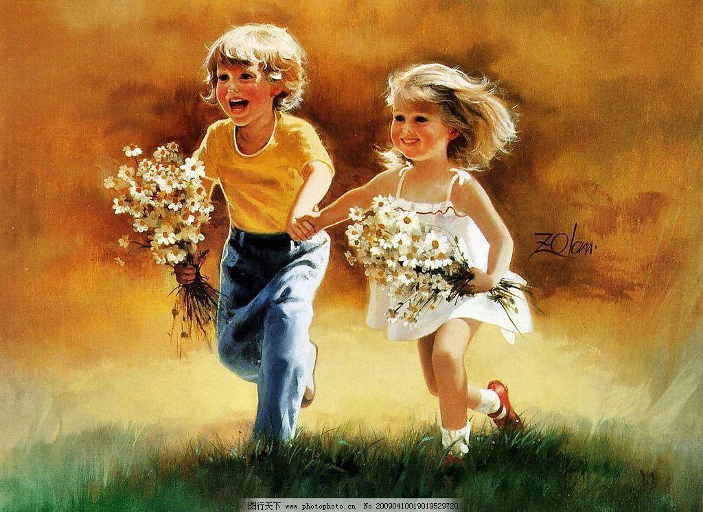 人物油画 草地 天空 男孩女孩 花朵 可爱 快乐 天真 奔跑 手牵手 文化
