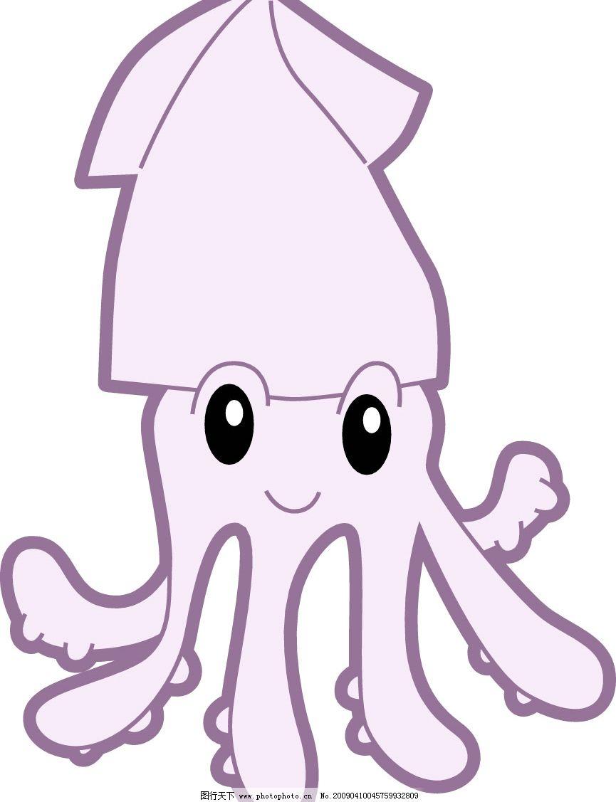 水产海鲜 乌贼 章鱼 墨鱼 鱿鱼 矢量 鱼类 贝类 龙虾 螃蟹