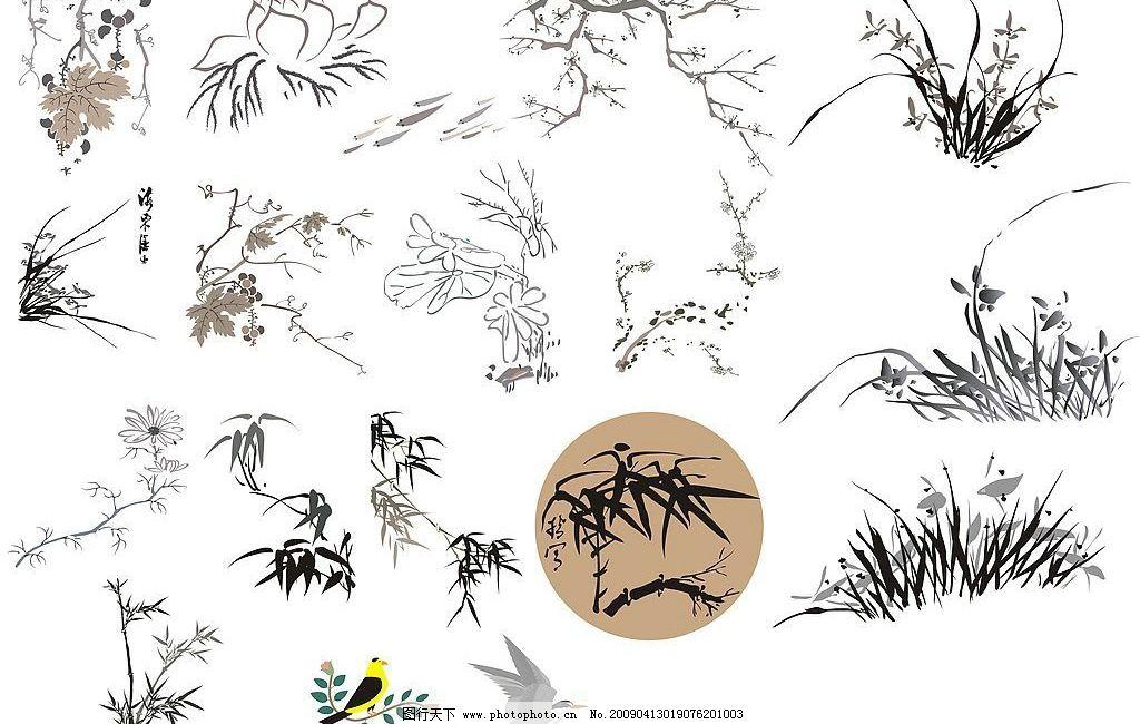 墨画素材 墨花 文学 诗意 花 草 鸟 花边 文化艺术 美术绘画 矢量图库
