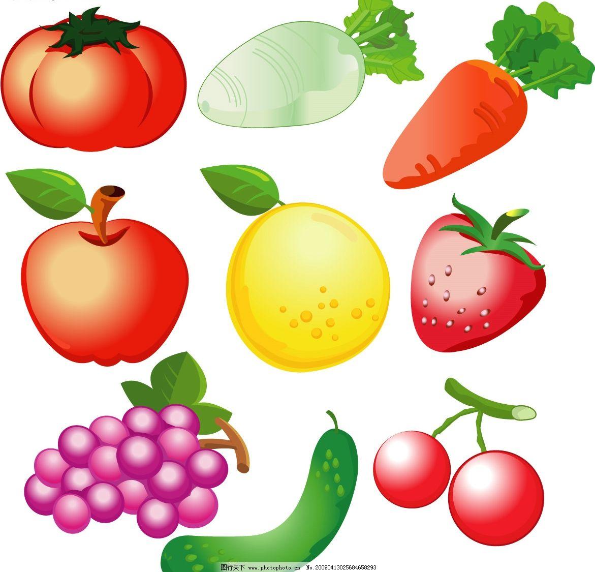 漂亮水果矢量图 水果 食物 英语教学图片素材 生活百科 餐饮美食 矢量