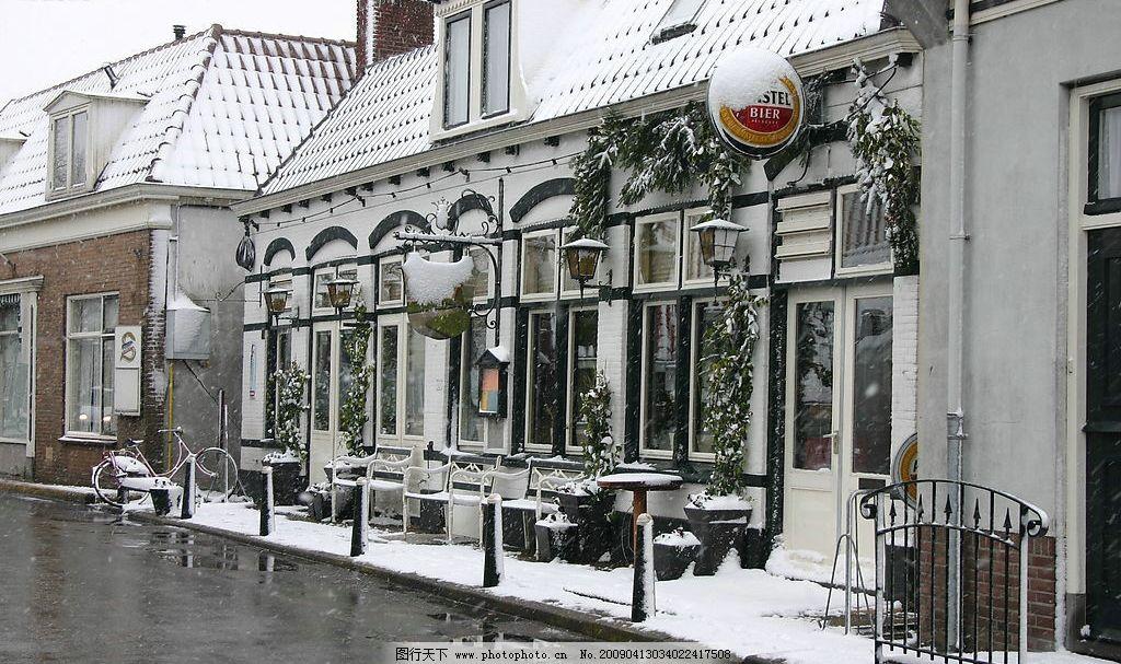 欧式街道雪景图片