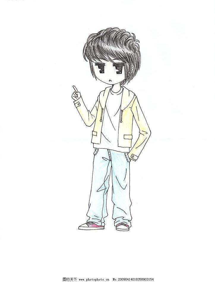 可爱动漫男孩 手绘 可爱表情 卡通人物 动漫动画 动漫人物 设计图库