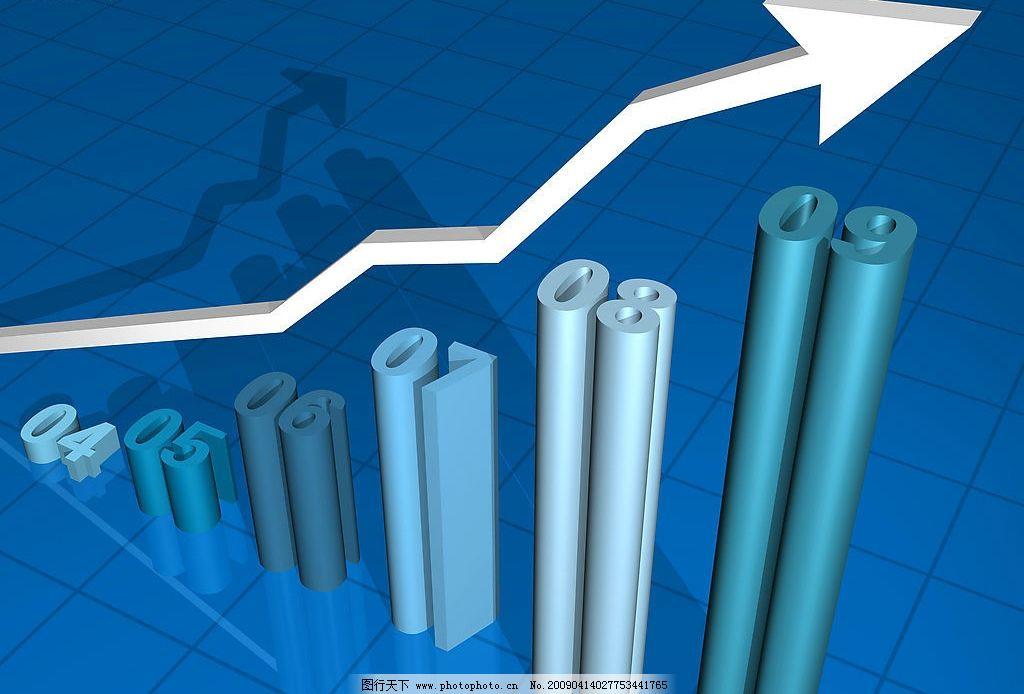 三维示意图 上涨箭头 上升趋势 业绩量 销量示意图