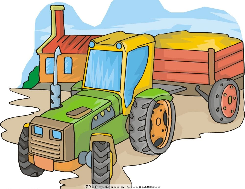 卡通拖拉机图片
