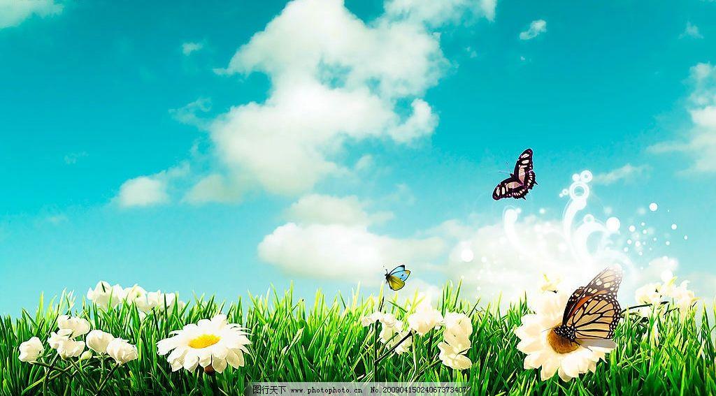 风景如画图片,壁纸 蝴蝶 花草 云 蓝天-图行天下图库