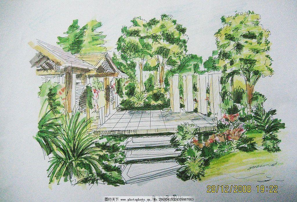 手绘 凉亭 树 小区 景观 自然景观 其他 设计图库 180dpi jpg