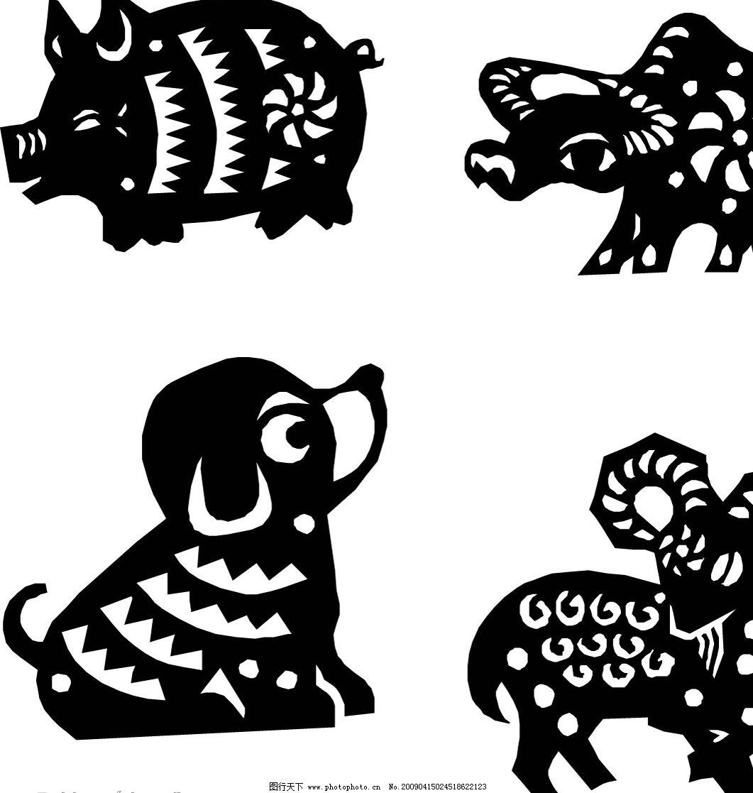 动物剪纸 牛 马 羊 鸡