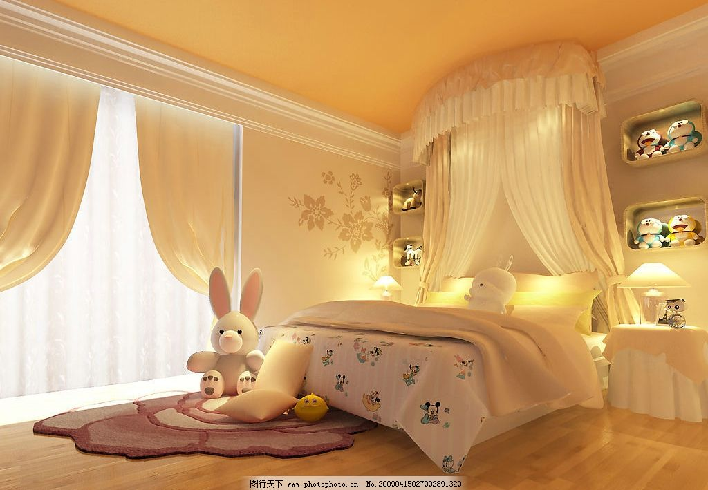 超豪华欧式别墅女生卧室