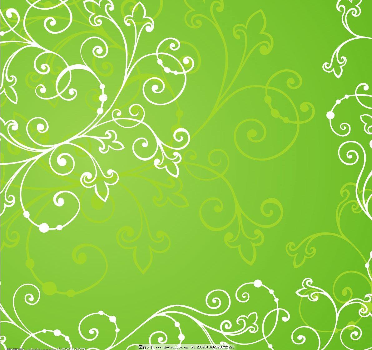 绿色花纹线条背景图片
