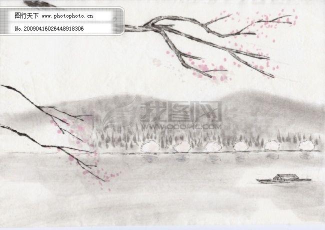古画免费下载 古画-河流 船 梅花 图片素材 风景|生活|旅游|餐饮