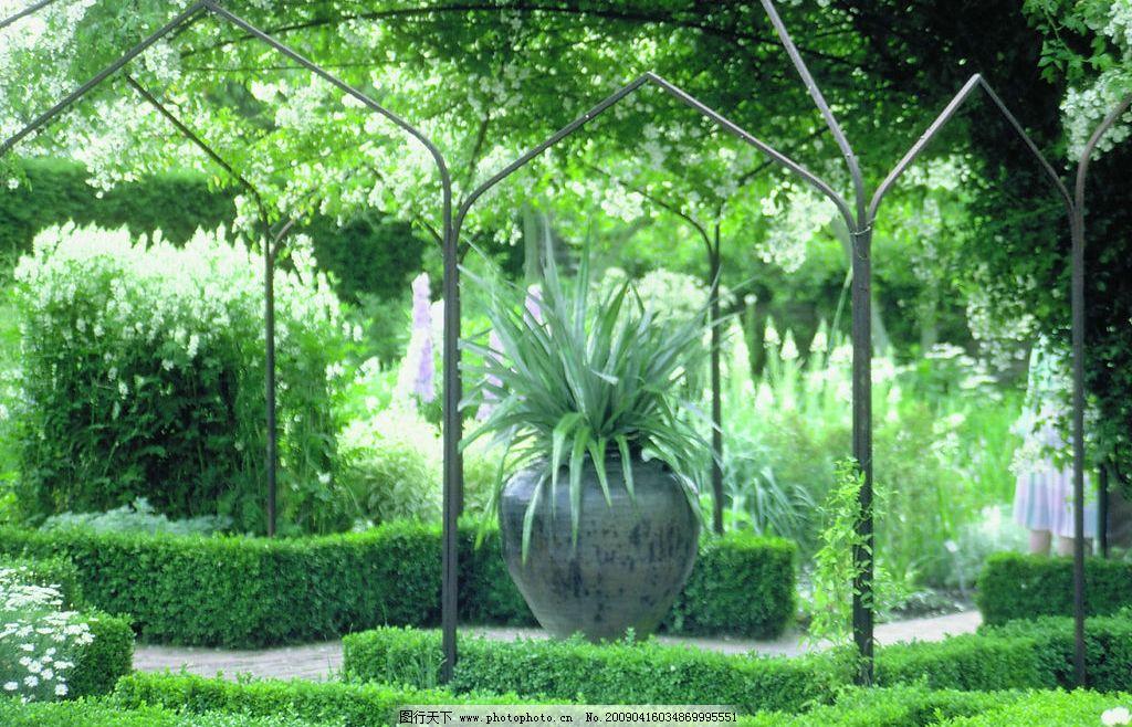 绿色小区 绿化带 花坛 大树 自然景观 自然风景 摄影图库 72dpi jpg