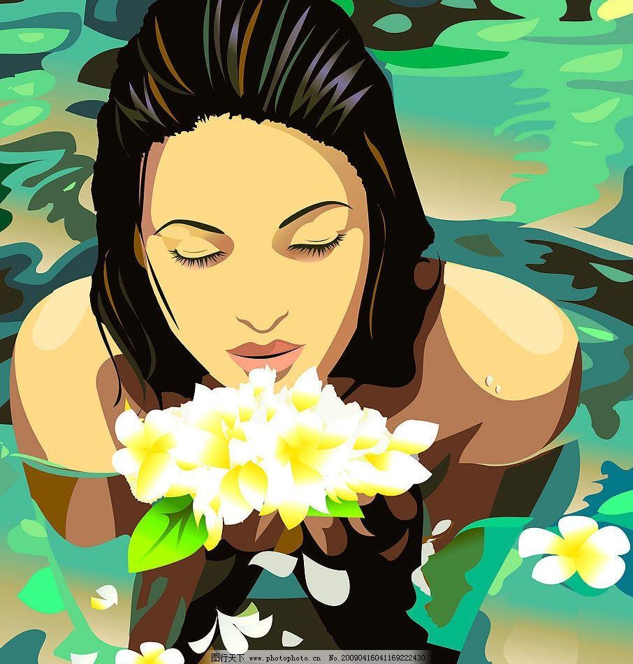 东方美女 女人 风景 花儿 水 景象 倒影 水花 矢量人物 妇女女性