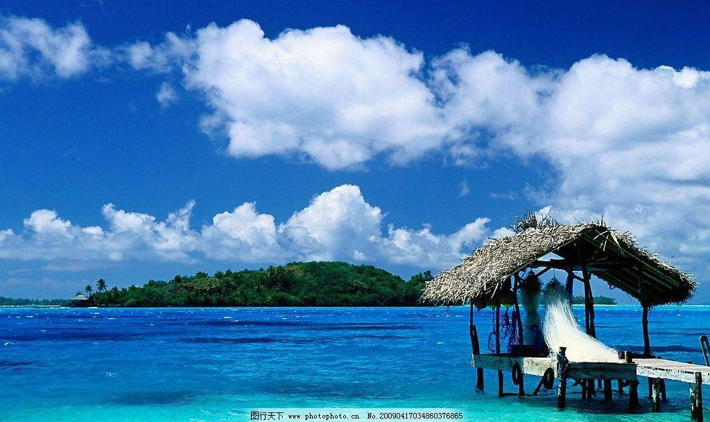大海风光 大海 海水 蓝天 白云 草蓬 小岛 树林 树木 渔网 深兰色 浅