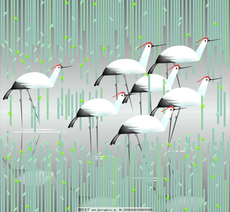 芦苇丹顶鹤 芦苇 丹顶鹤 湖 嫩芽 水 鸟 手绘 绘画 美术 现代美 移门