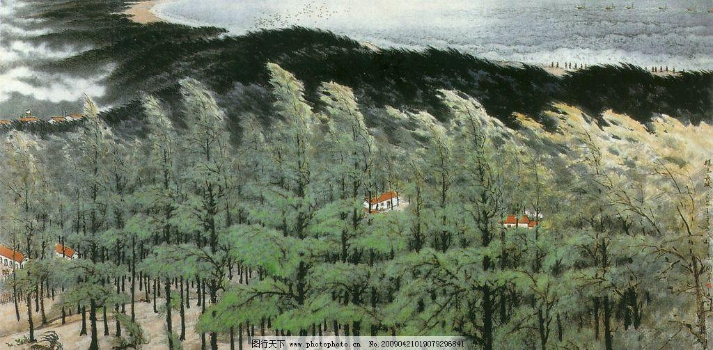 绿色长城图 绘画 国画 山水画 艺术 山丘 春天 春风 绿色 文化艺术