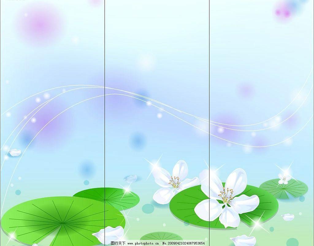 白色荷花 荷叶 花瓣 莲花 线条 移门 自然风景 矢量图库