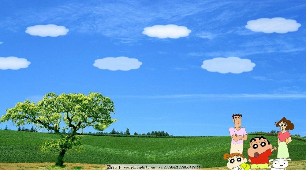 幼儿园橱窗背景 大树 家长 幼儿 环境设计 其他设计 源文件库 300dpi