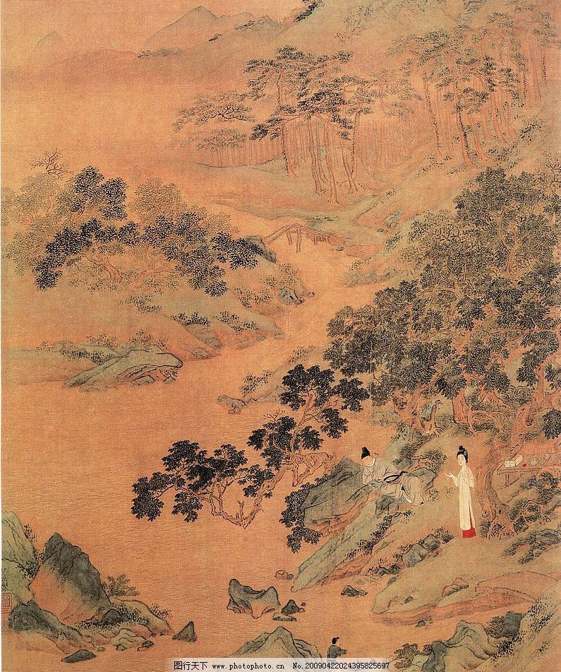 山水画 清山 人 石头 树枝 自然景观 其他 设计图库 300dpi jpg