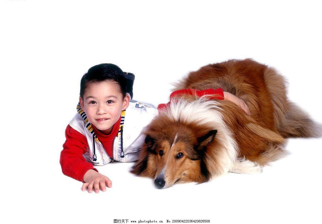 可爱幼童 男孩 活泼 眼神 宠物狗 笑容 儿童幼儿 摄影图库