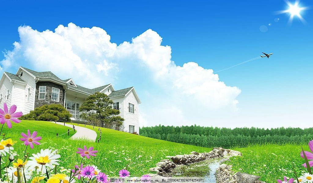 超酷乡村别墅 自然景观 自然风景 中堂 自然风光 设计图库 300dpi jpg