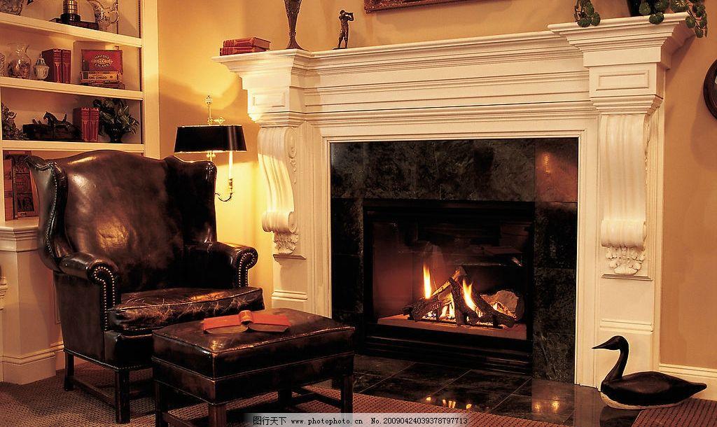 欧式家居 壁炉 沙发 建筑园林 室内摄影 摄影图库