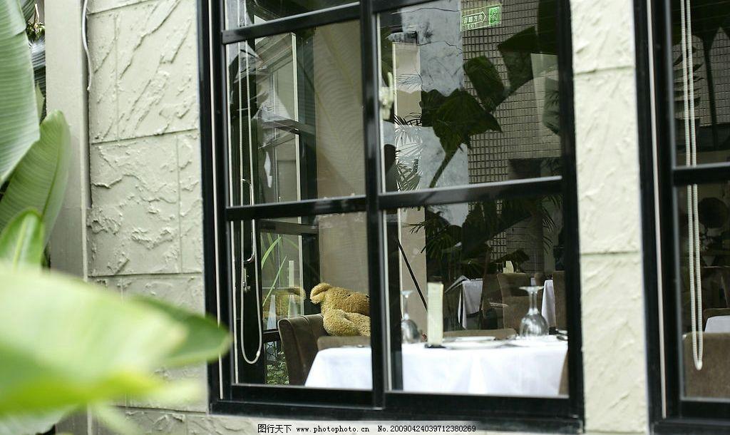 餐厅窗户 西餐厅 黑框窗户 餐饮美食 餐具厨具 摄影图库 350dpi jpg图片
