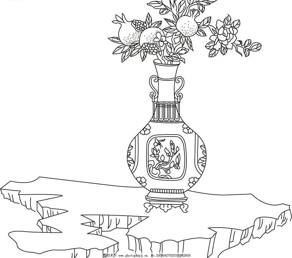 石榴花 花瓶 底纹边框 花纹花边 矢量图库