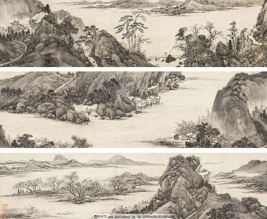 江南春倡和图 文徵明 手卷 国画 古画 名画 山水 风景 中国名画