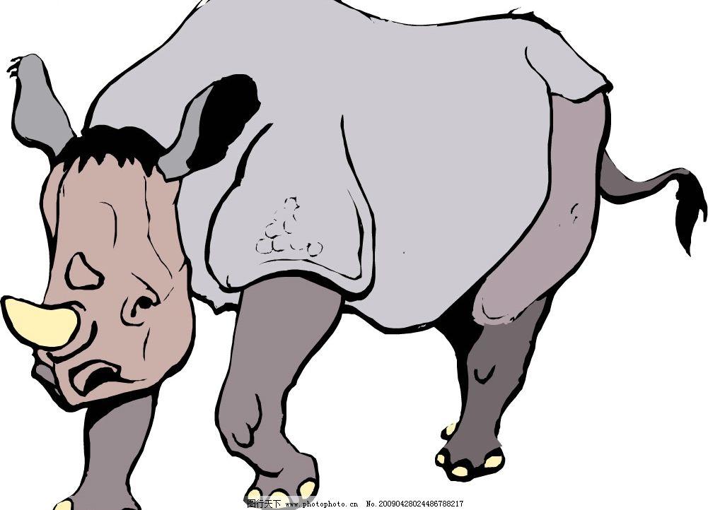犀牛 生物世界 野生动物 矢量图库 wmf