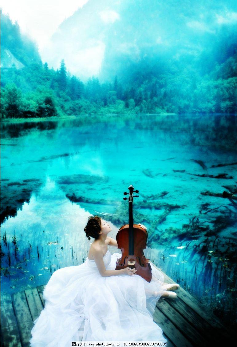 漫色天空 青色 蓝色 婚纱 美女 素材 模版 湖水 山脉 摄影模板 婚纱