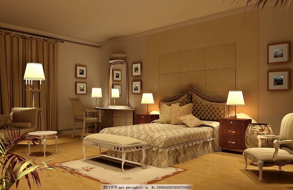 主卧室效果图 室内空间 家具 床灯 窗帘 源文件库
