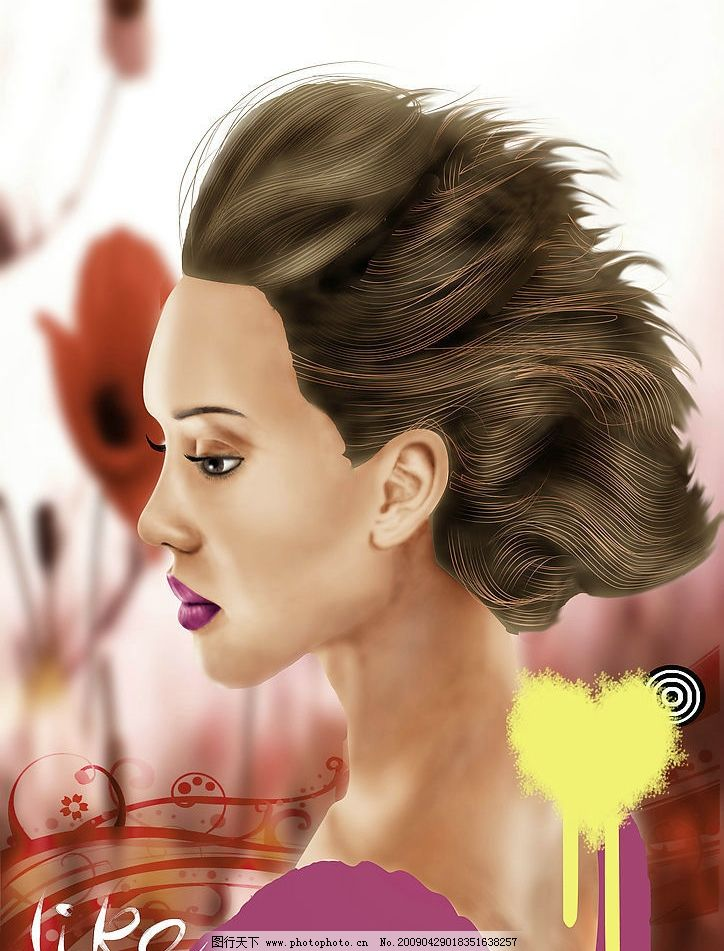 手绘女性 手绘 美女 红色 侧脸 动漫动画 动漫人物 设计图库 300dpi