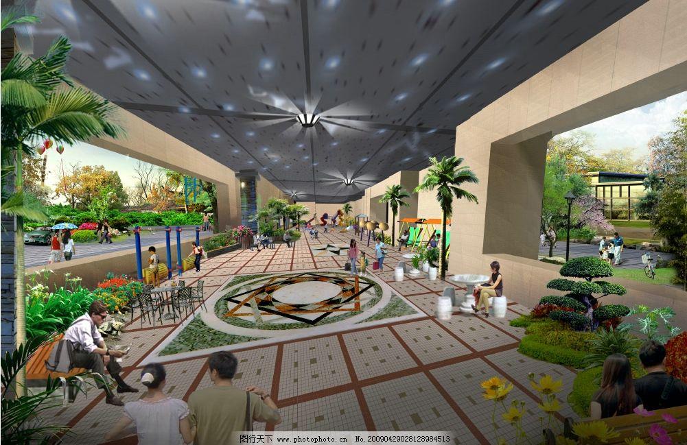 商务楼架空层室内景观绿化效果图图片